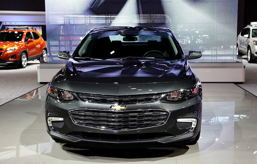 A Chevy Malibu on display at an auto show