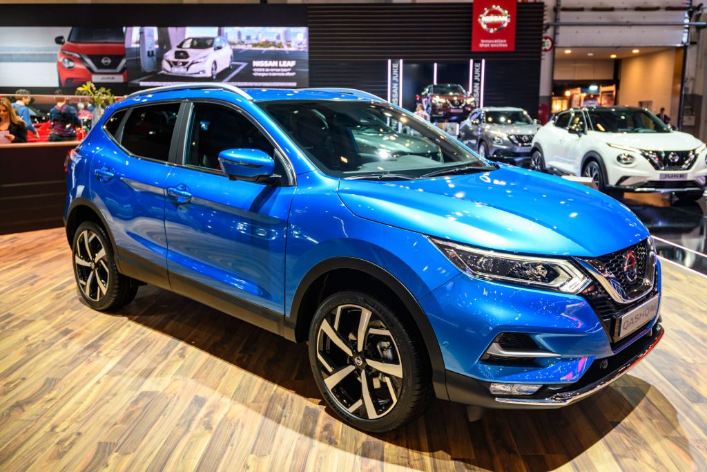 A Nissan Rogue on display at an auto show