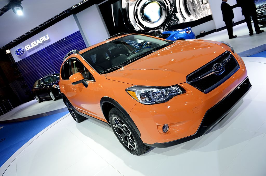 A new Subaru Crosstrek on display at an auto show