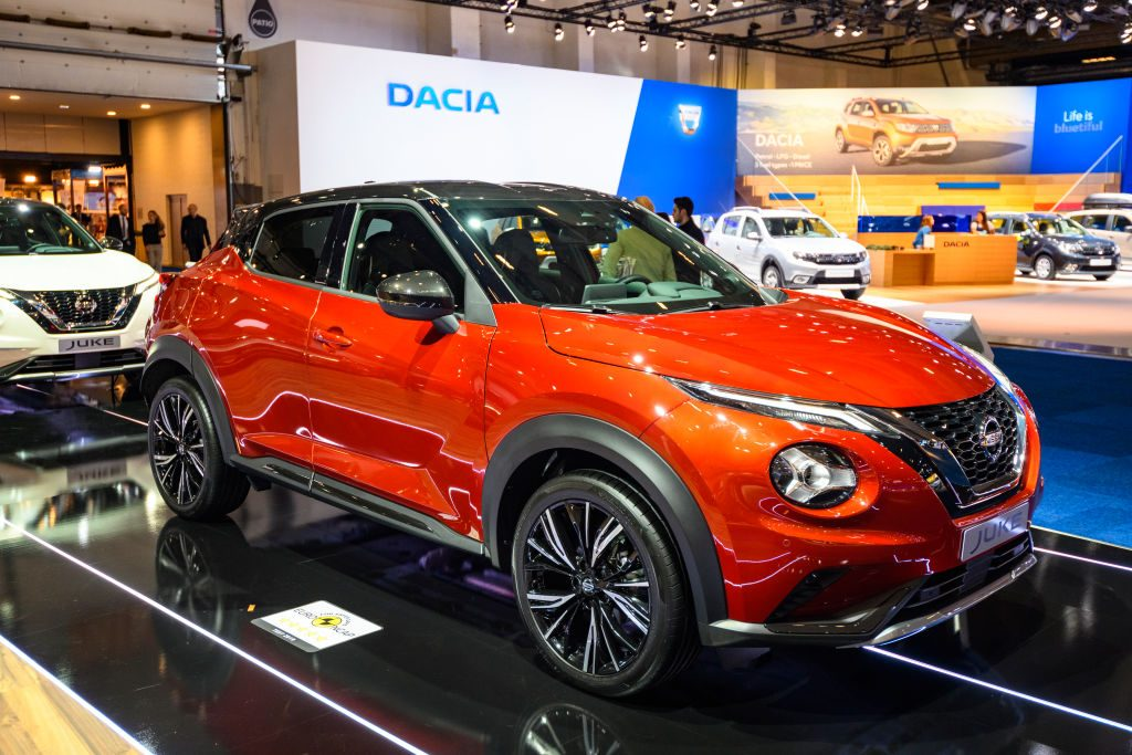 Nissan Juke compact crossover SUV on display at Brussels Expo