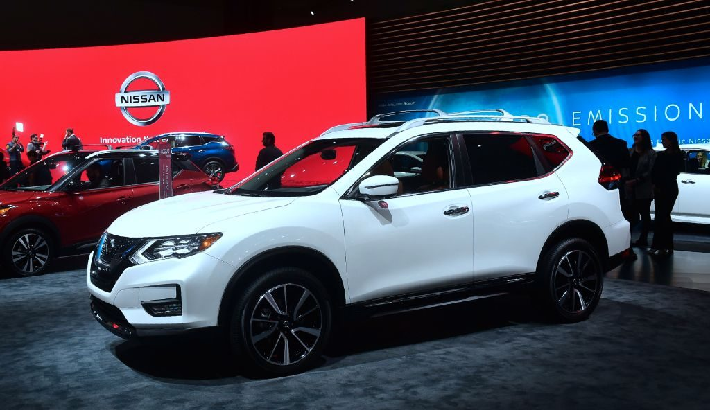 New models of the Nissan Rogue on display in Los Angeles, California