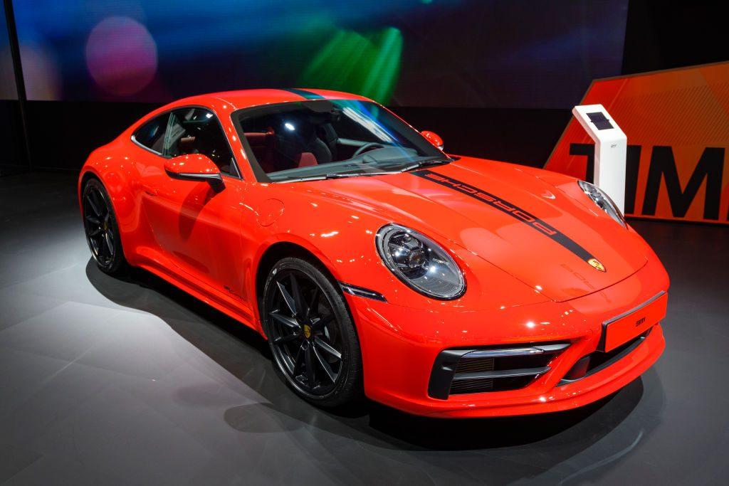 The new Porsche 911 on display at an auto show