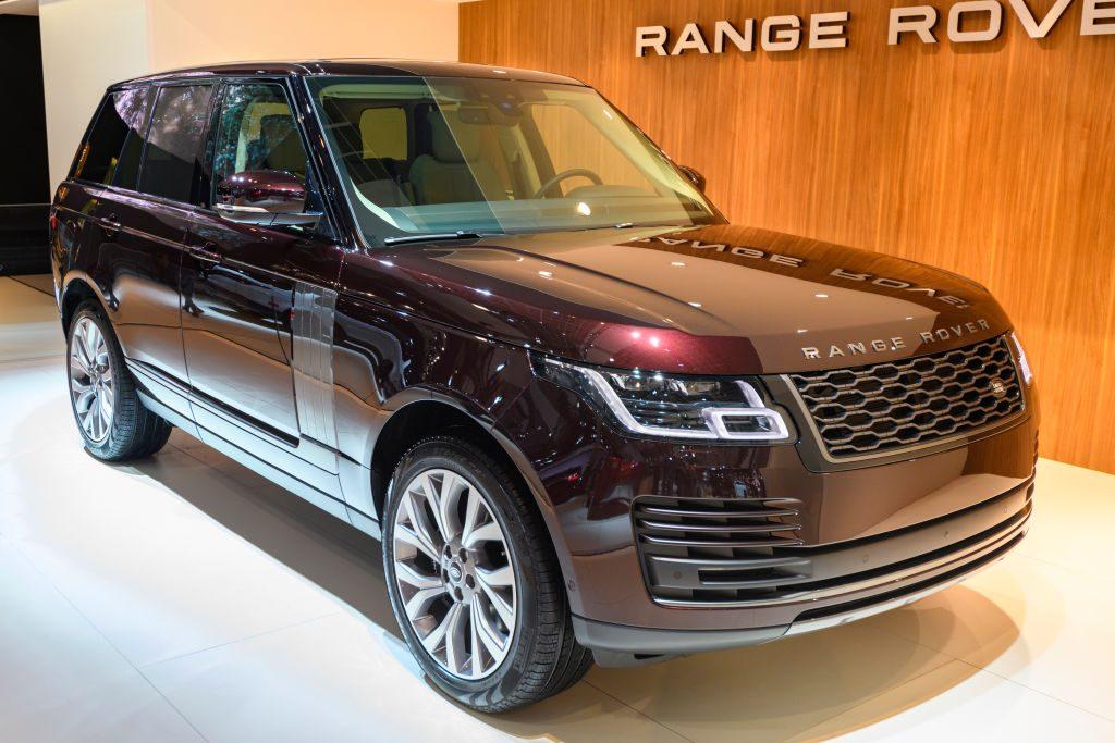 A diesel Range Rover SUV on display