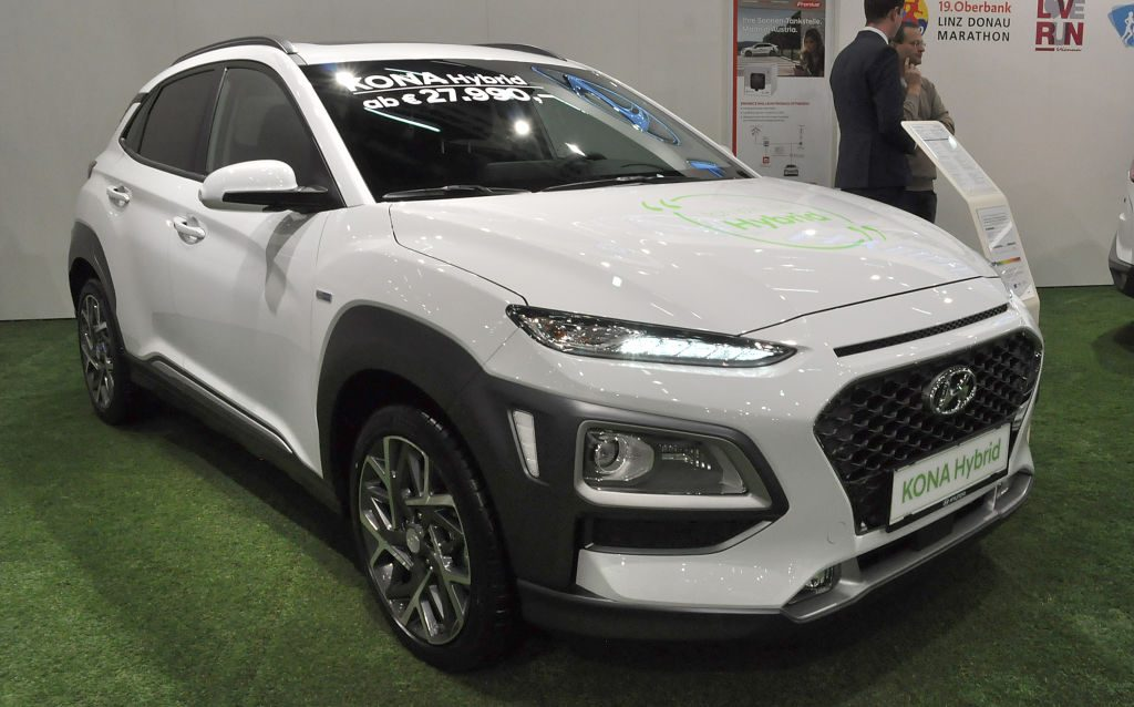 A hybrid Hyundai Kona on display
