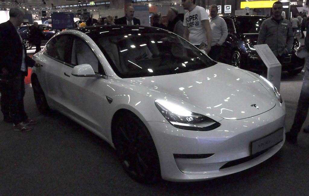 A Tesla Model 3 is seen during the Vienna Car Show press preview