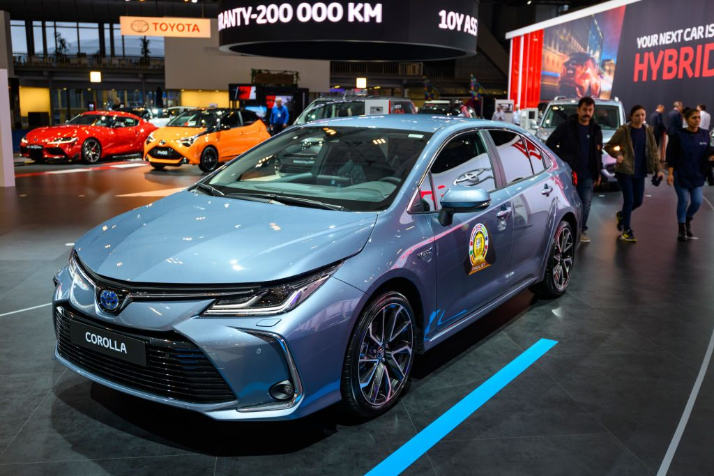 A 2020 Toyota Corolla on display at an auto show