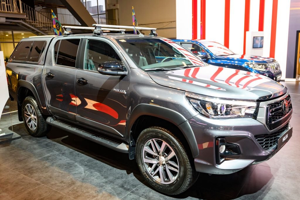 Silver Toyota Hilux on display at a motor show
