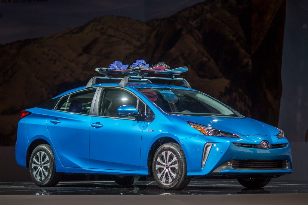 The 2019 Toyota Prius with all-wheel drive is shown at the auto trade show, AutoMobility LA