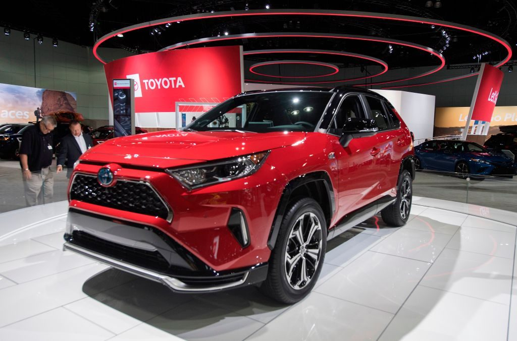The 2021 Toyota RAV4 Prime on display during the AutoMobility LA event