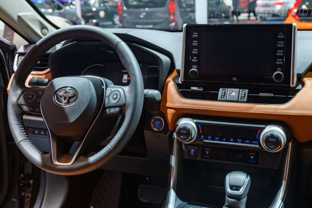 Toyota RAV4 Hybrid compact SUV on display at Brussels Expo