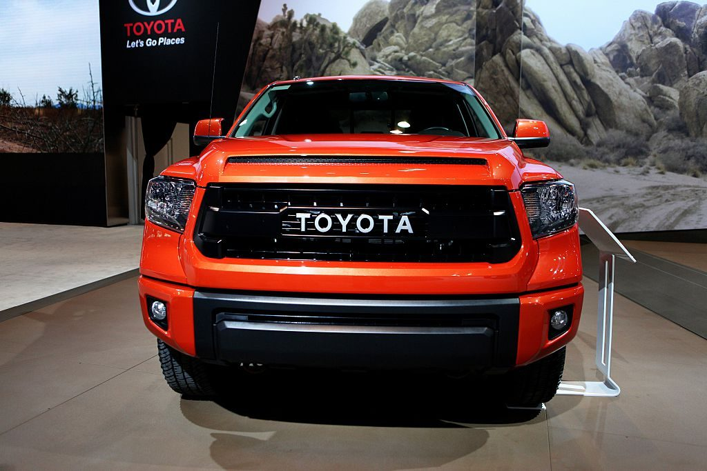 A Toyota Tundra TRD Pro on display at an auto show