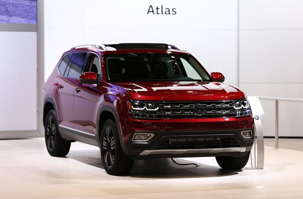 The Volkswagen Atlas on display at an auto show