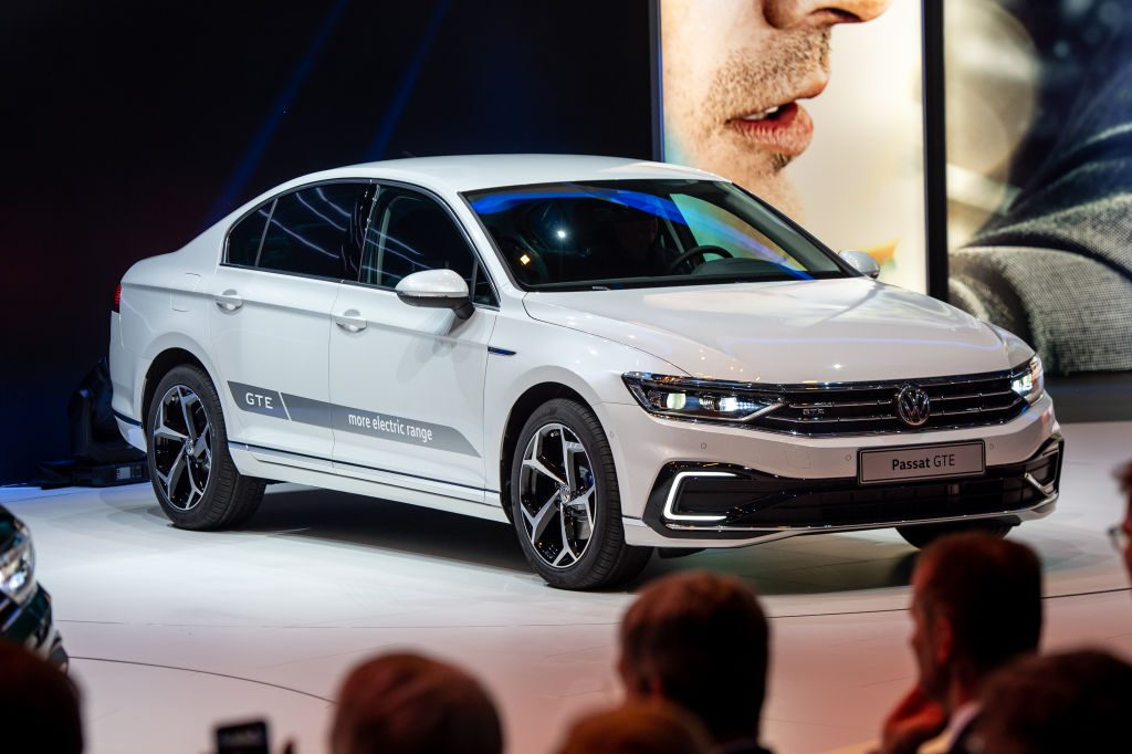 Volkswagen Passat GTE is displayed during the first press day at the 89th Geneva International Motor Show