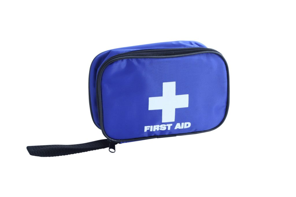 A blue first-aid kit for roadside emergencies.