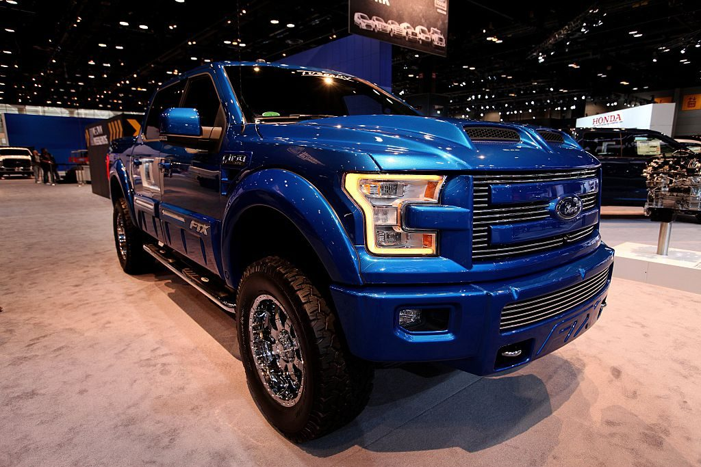 A blue 2015 Ford F-150 FTX pickup, a platform popular with those car shopping