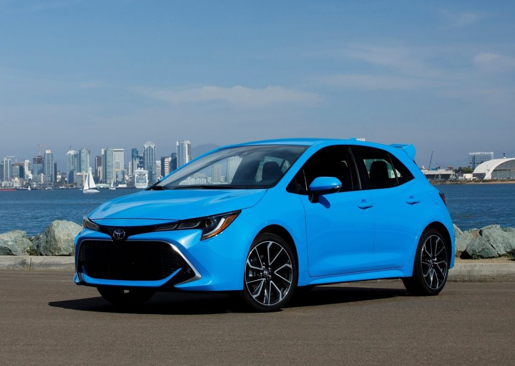 Bright blue Toyota Corolla XSE Hatchback