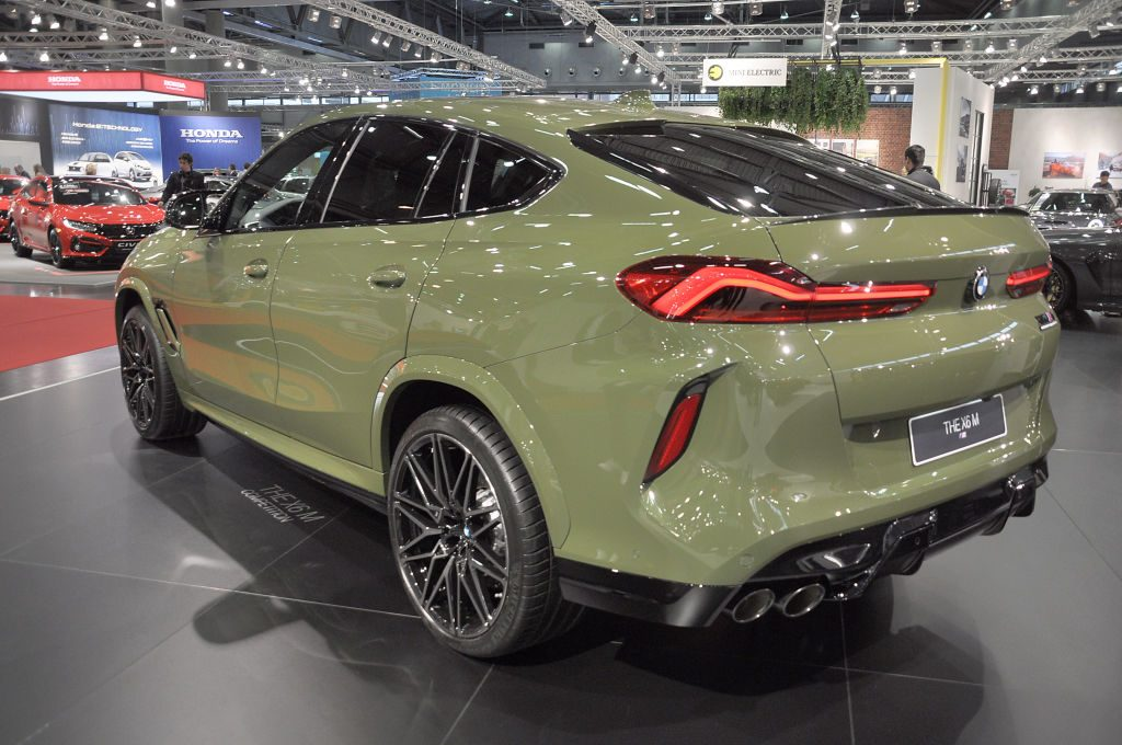 The 2020 BMW X6 M on display at an auto show