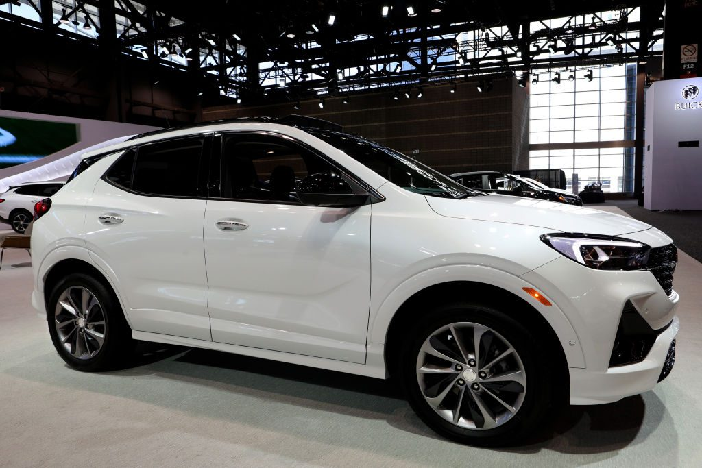 A white Buick Encore on display.