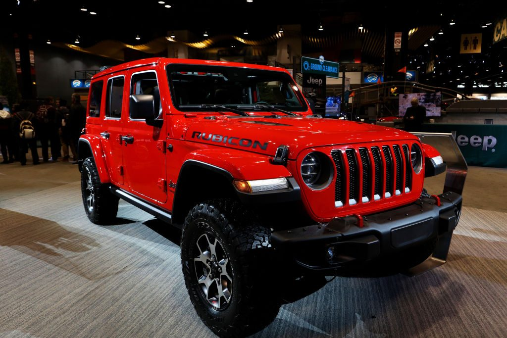 A 2020 Jeep Wrangler Rubicon on display at an auto show