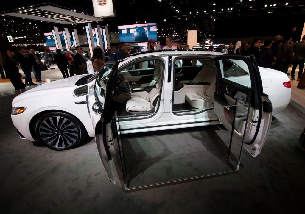 A 2020 Lincoln Continental on display at an auto show