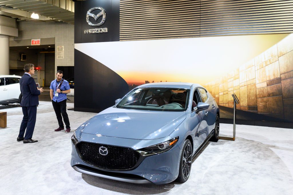 A new Mazda3 on display at an auto show. New models have yet to receive complaints.