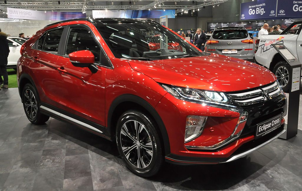 The 2020 Mitsubishi Eclipse Cross on display at an auto show