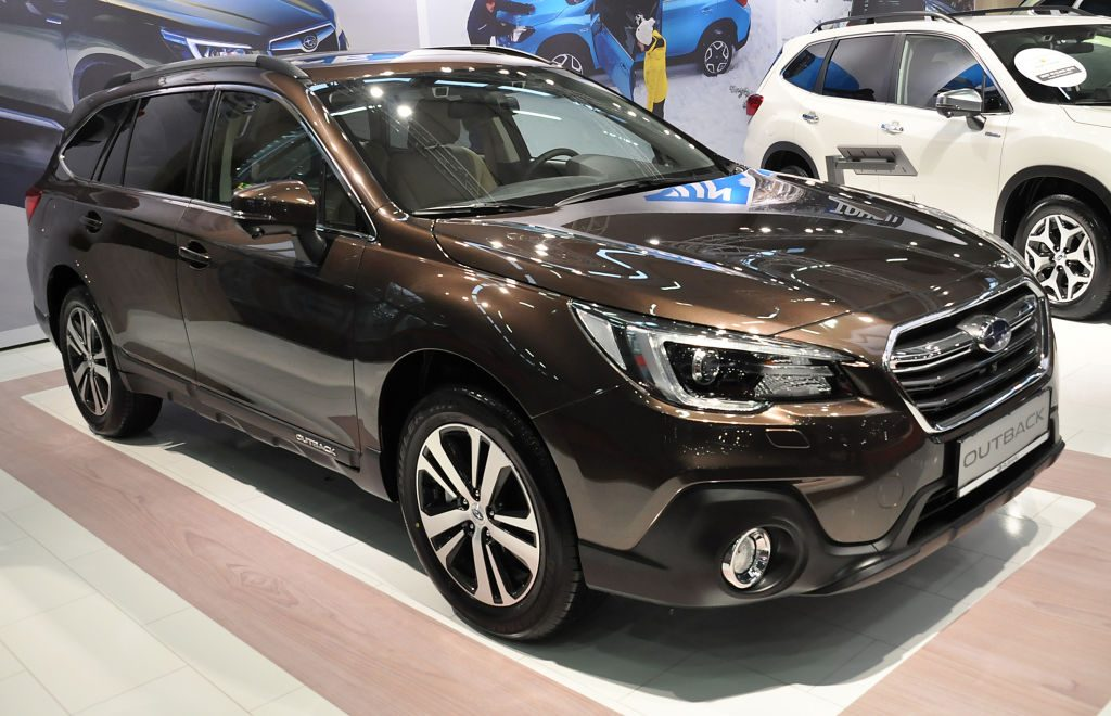 A Subaru Outback is seen during the Vienna Car Show press preview at Messe Wien, as part of Vienna Holiday Fair