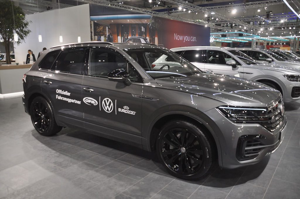 A Volkswagen Touareg is seen during the Vienna Car Show press preview at Messe Wien, as part of Vienna Holiday Fair