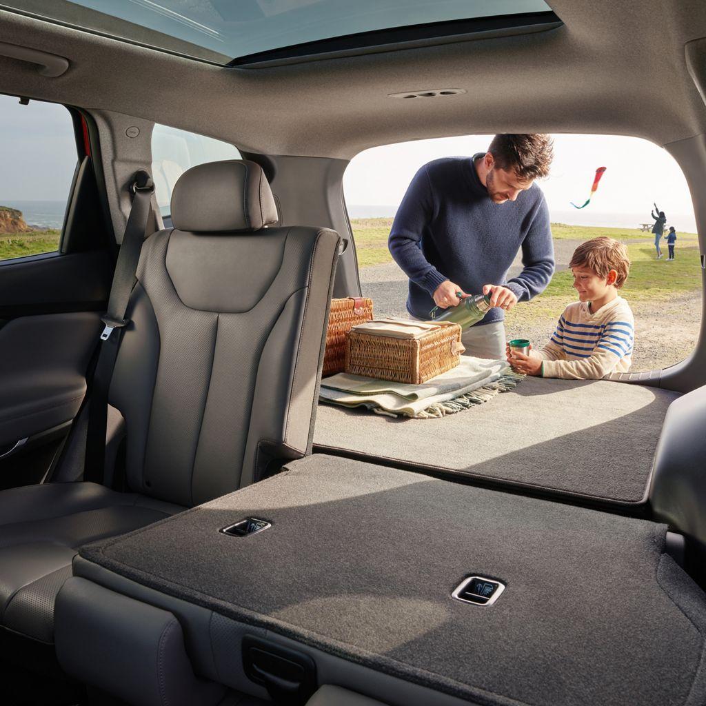 2020 Hyundai Sante Fe interior with seats that fold flat