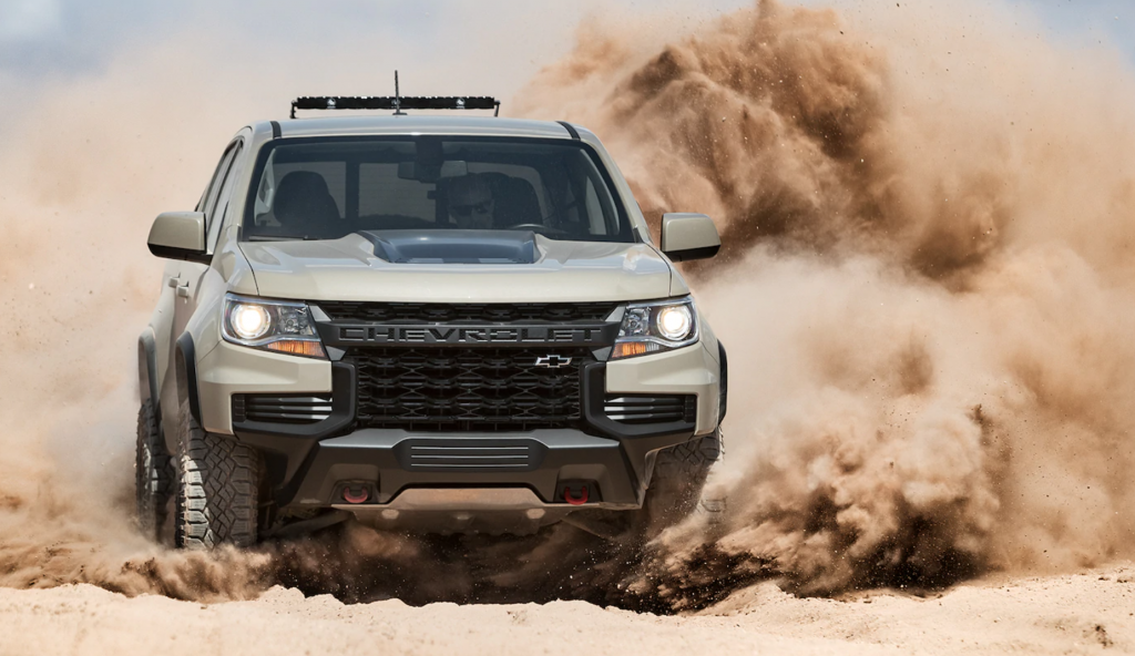2021 Chevy Colorado driving in sand