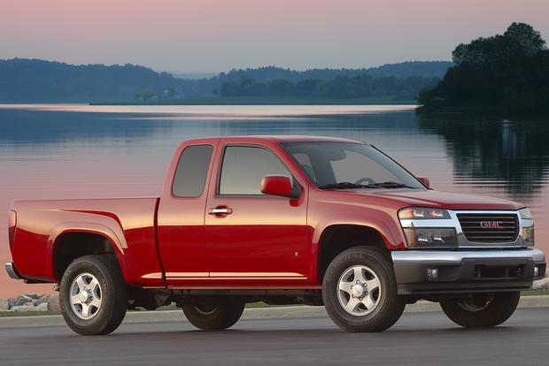 a red 2008 GMC Canyon used pickup truck model in a lakeside press photo when it was new.