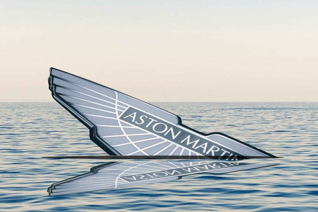 Aston Martin Sinking logo in water