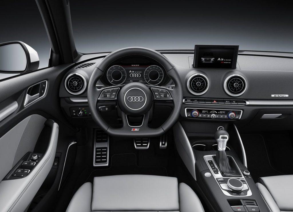 Audi E-Tron's black interior  space.