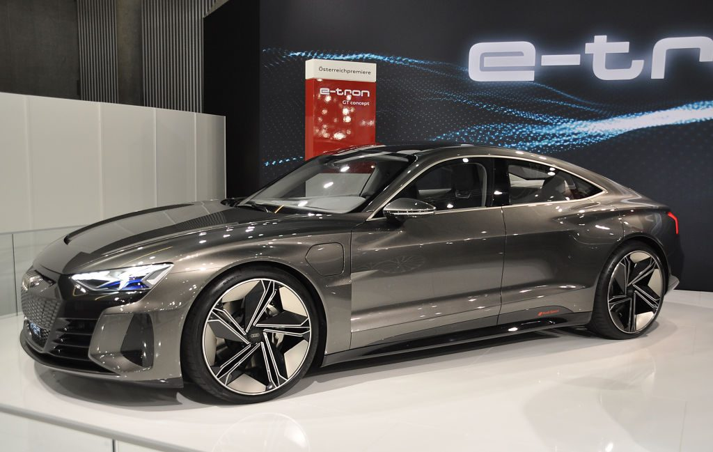 A Audi e-tron GT Concept is seen during the Vienna Car Show press preview at Messe Wien