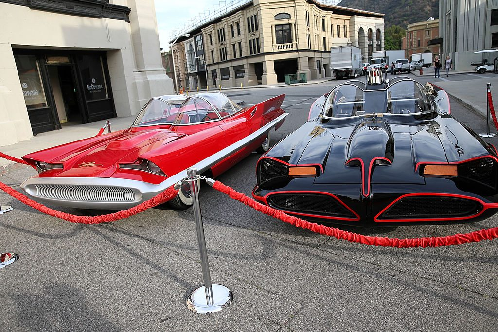 The Lincoln Futura and Batmobile side by side