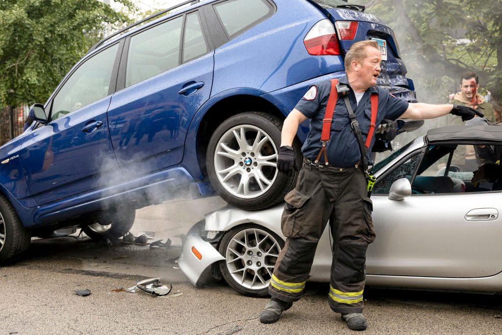 A car crash scene from 'Chicago Fire'