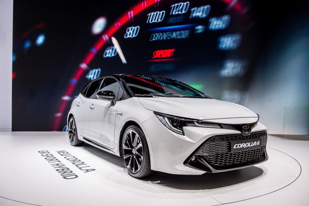 Toyota Corolla GR Sport Hybrid is displayed during the first press day at the 89th Geneva International Motor Show