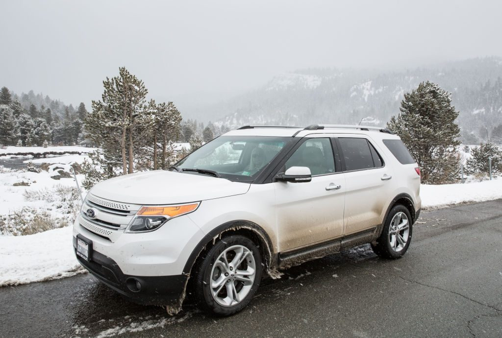 This white AWD Ford Explorer SUV makes it easier in six inches of snow in Hope Valley, California