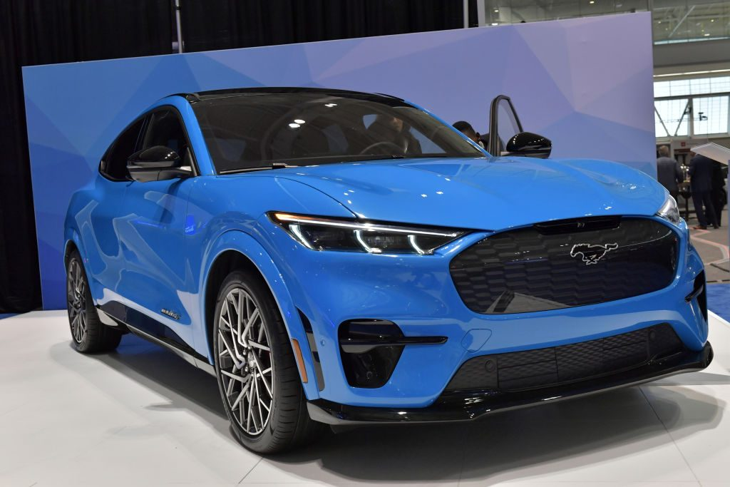 An electric Ford Mustang Mach-E is seen at the 2020 New England Auto Show Press Preview