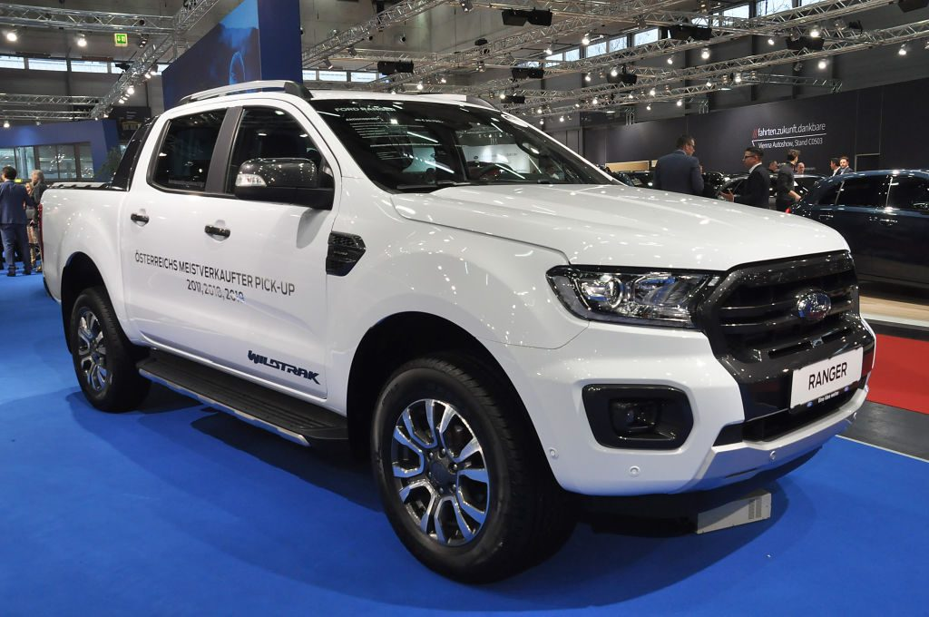 A Ford Ranger is seen during the Vienna Car Show press preview at Messe Wien, as part of Vienna Holiday Fair