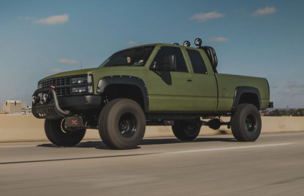 Green and lifted 1993 Chevy Pickup