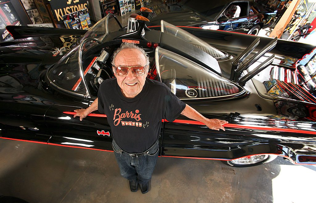 George Barris standing by the Batmobile