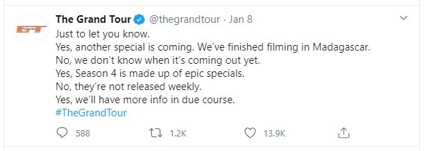 Tweet with a teaser on The Grand Tour