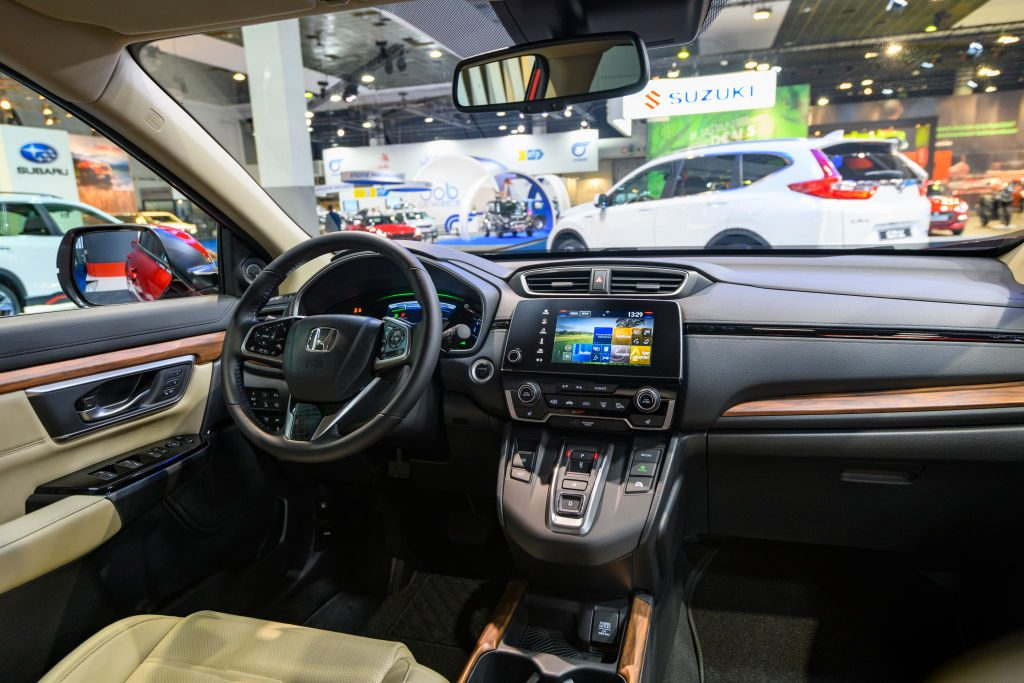Honda CR-V icompact crossover SUV interior on display at Brussels Expo