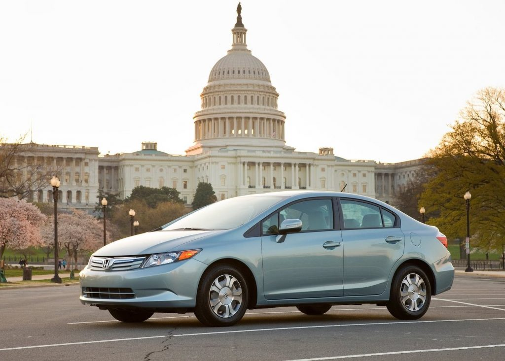 2012 Honda Civic hybrid in front of the capitol building