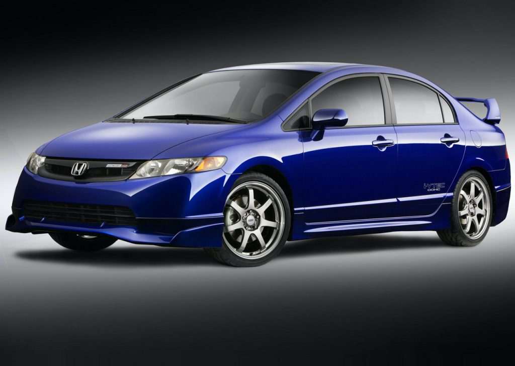 A blue 2008 Honda Civic Mugen Si sedan
