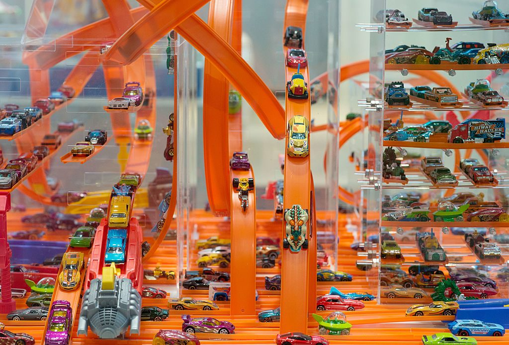 Hot Wheels diecast cars on display