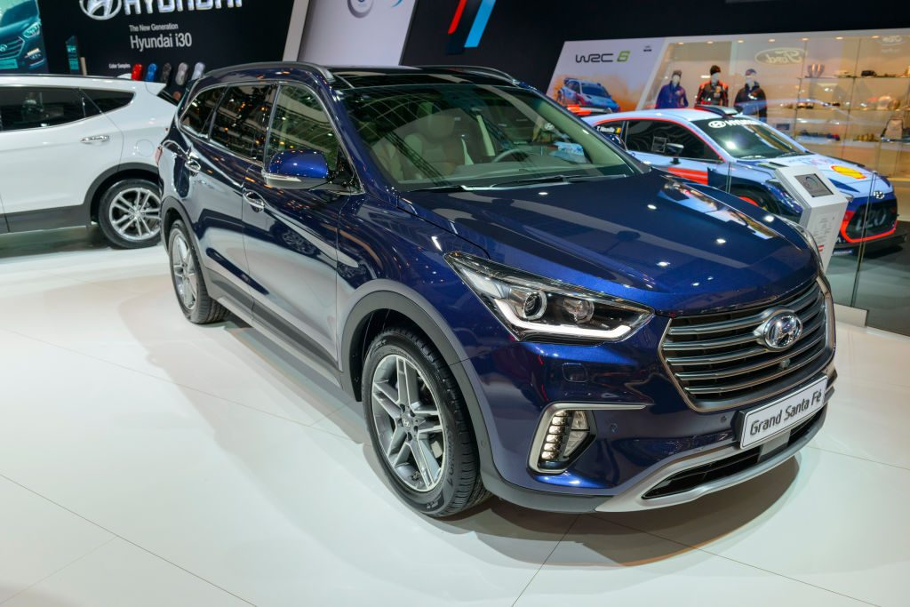 Hyundai Grand Santa Fe SUV car on display at Brussels Expo