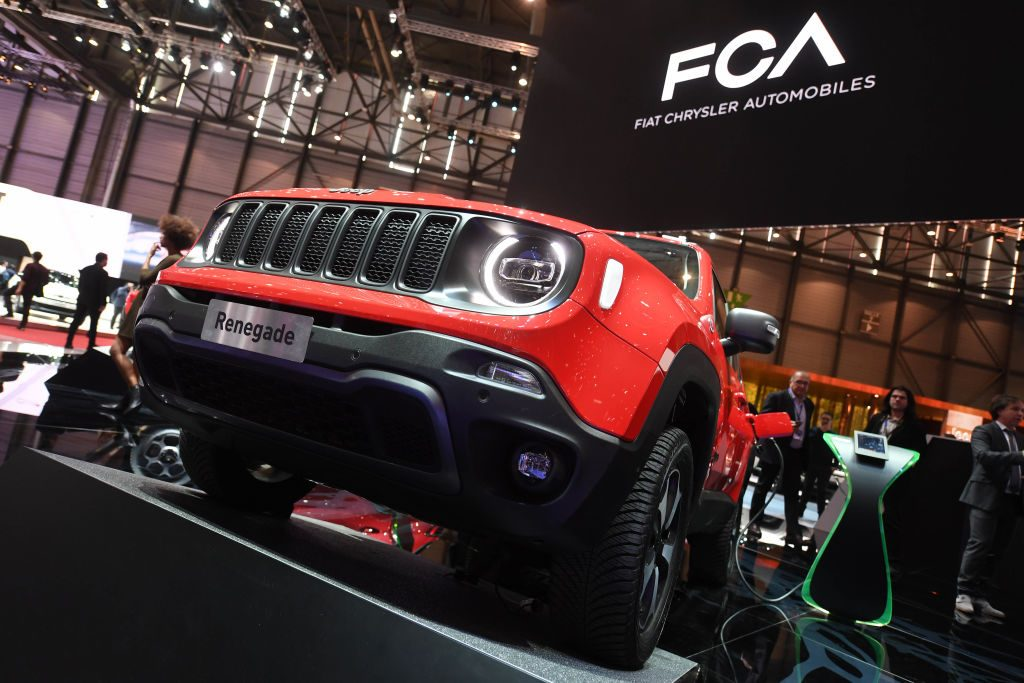 A Jeep Renegade 4x4 e is presented at the Geneva Motor Show