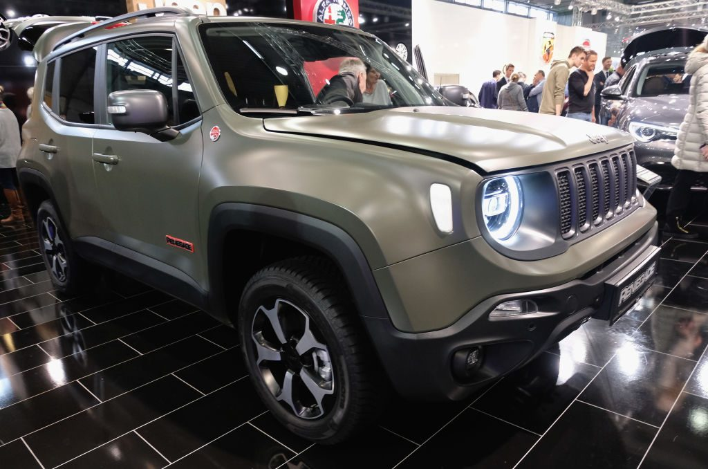 A Jeep Renegade military is displayed during the Vienna Autoshow, as part of Vienna Holiday Fair